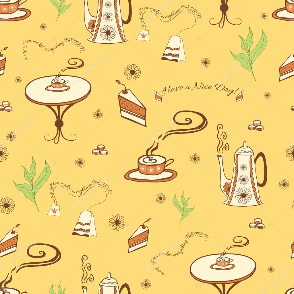Vector Seamless Background With A Cup Of Tea Teapot Cake Cute