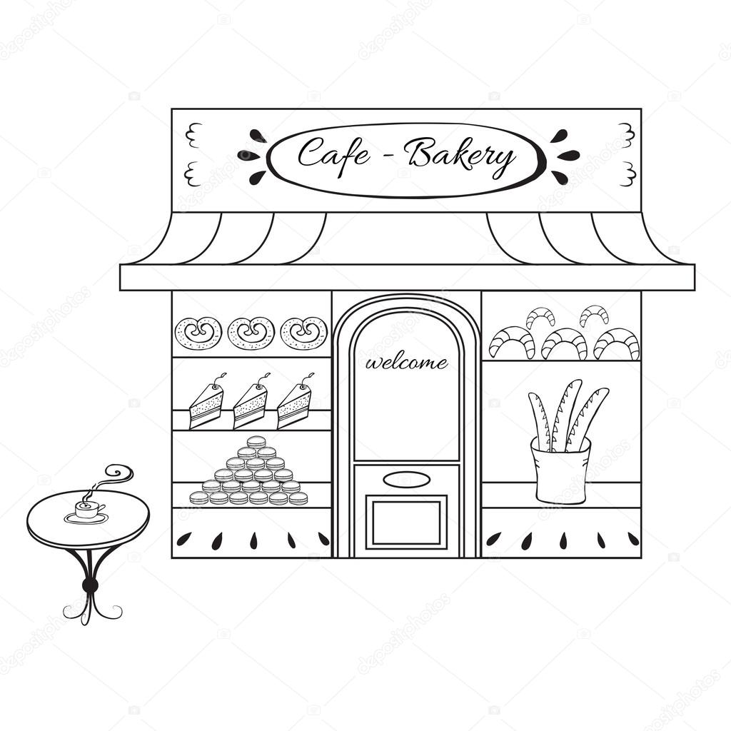 Dibujos Panaderias Para Colorear Tienda Panadería Fachada