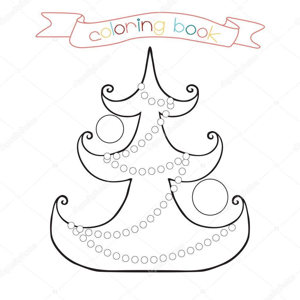 Página para colorear de árbol de Navidad. Escena de invierno en ...