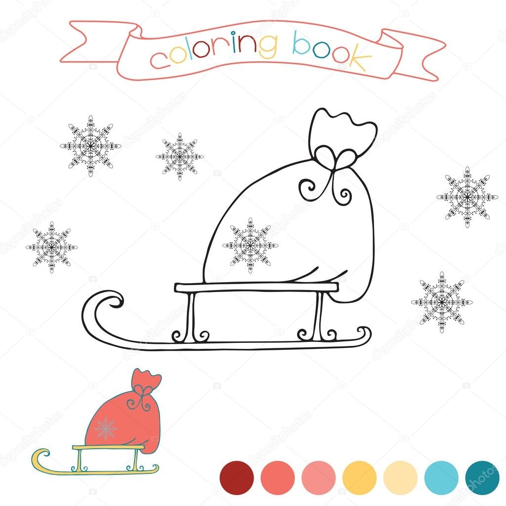 Coloring Book With Santa Claus Bag Christmas Scene In Vector