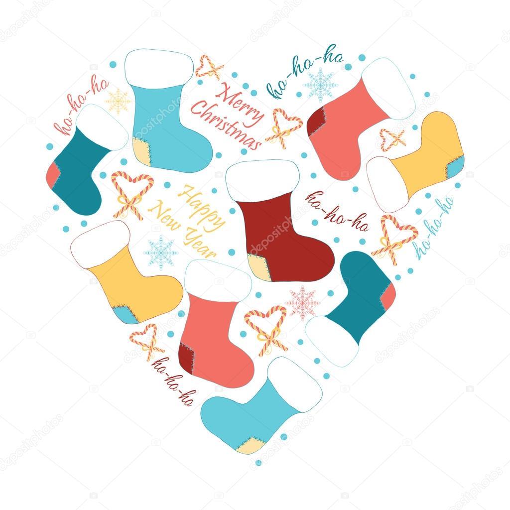 corazn de navidad tarjeta de felicitacin de vector diseo de vacaciones de invierno bastidor hecho de garabatos infantiles imagen con calcetines de