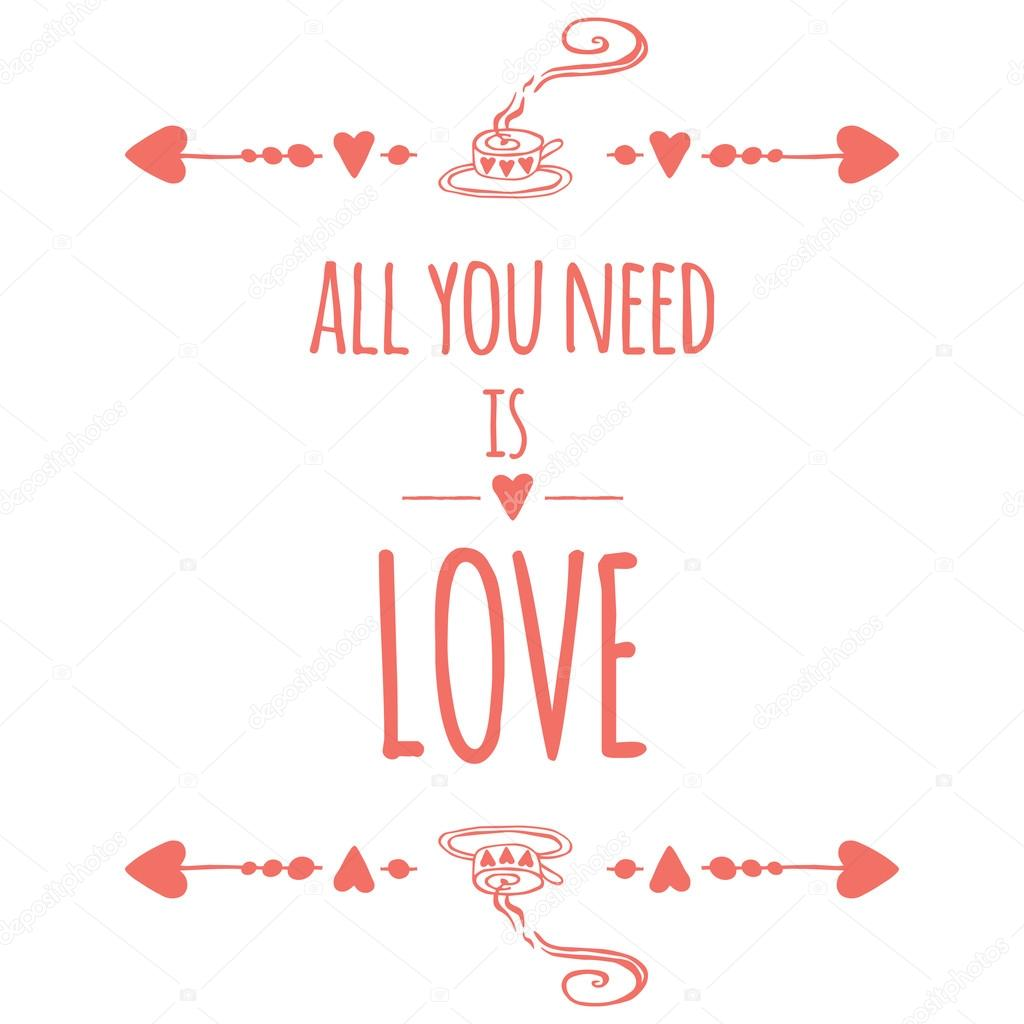 Saint valentines day greeting card all we need is love typographic saint valentines day greeting card all we need is love typographic banner with text m4hsunfo