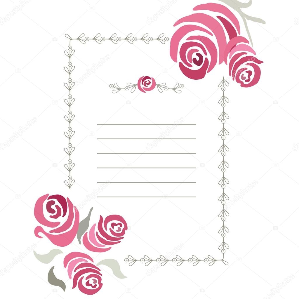 Ornamental frame with hand drawn romantic roses. Vertical border ...