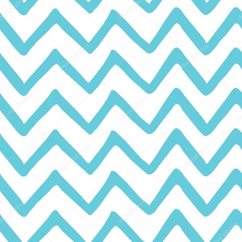 Abstrakte Licht blau Zick Zack nahtlose handgemalte Muster. Natur ...