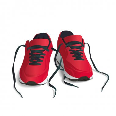 Red, Sports Shoes - Vector Illustration