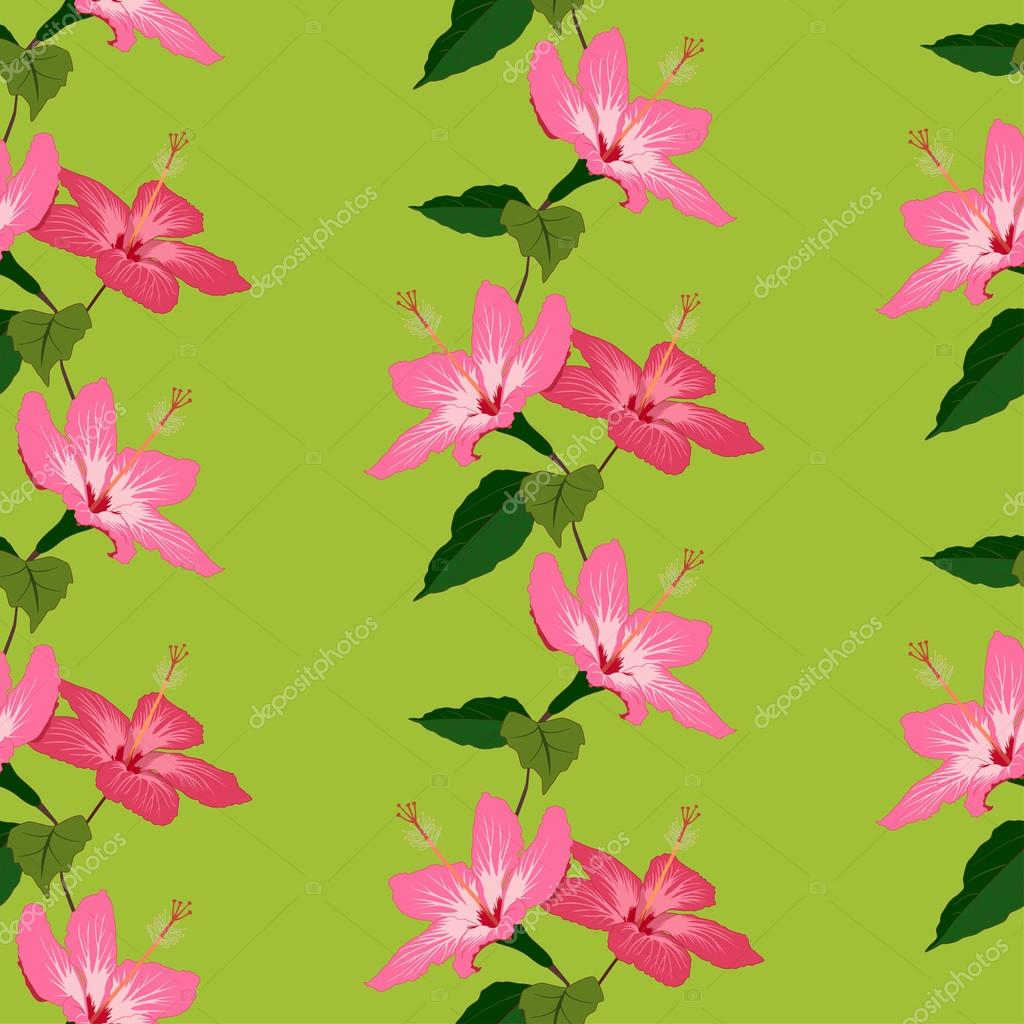 Seamless pattern with hand drawn hibiscus flowers on green backg