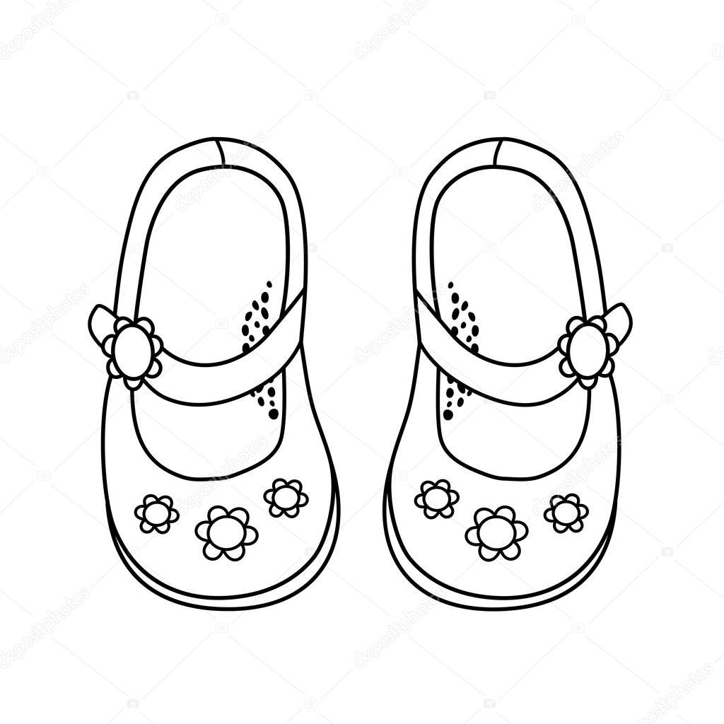 f48089ac Hand dras illustration av fashionabla sko för flicka– stockillustration