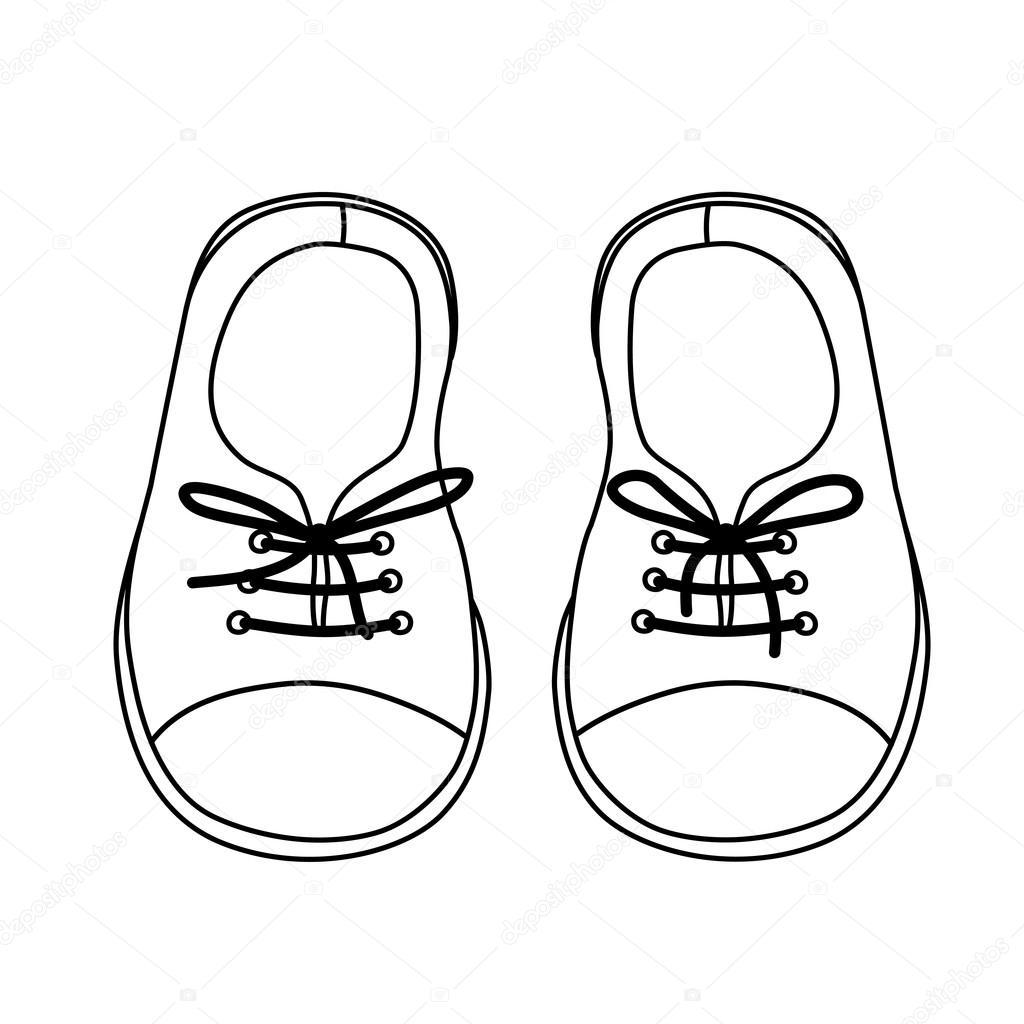 Hand gezeichnete Paar Kinderschuhe — Stockvektor