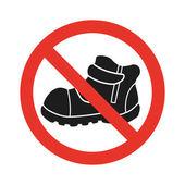 gehen Sie nicht in Schuhen Zeichen Symbol. Rotes Verbotsschild