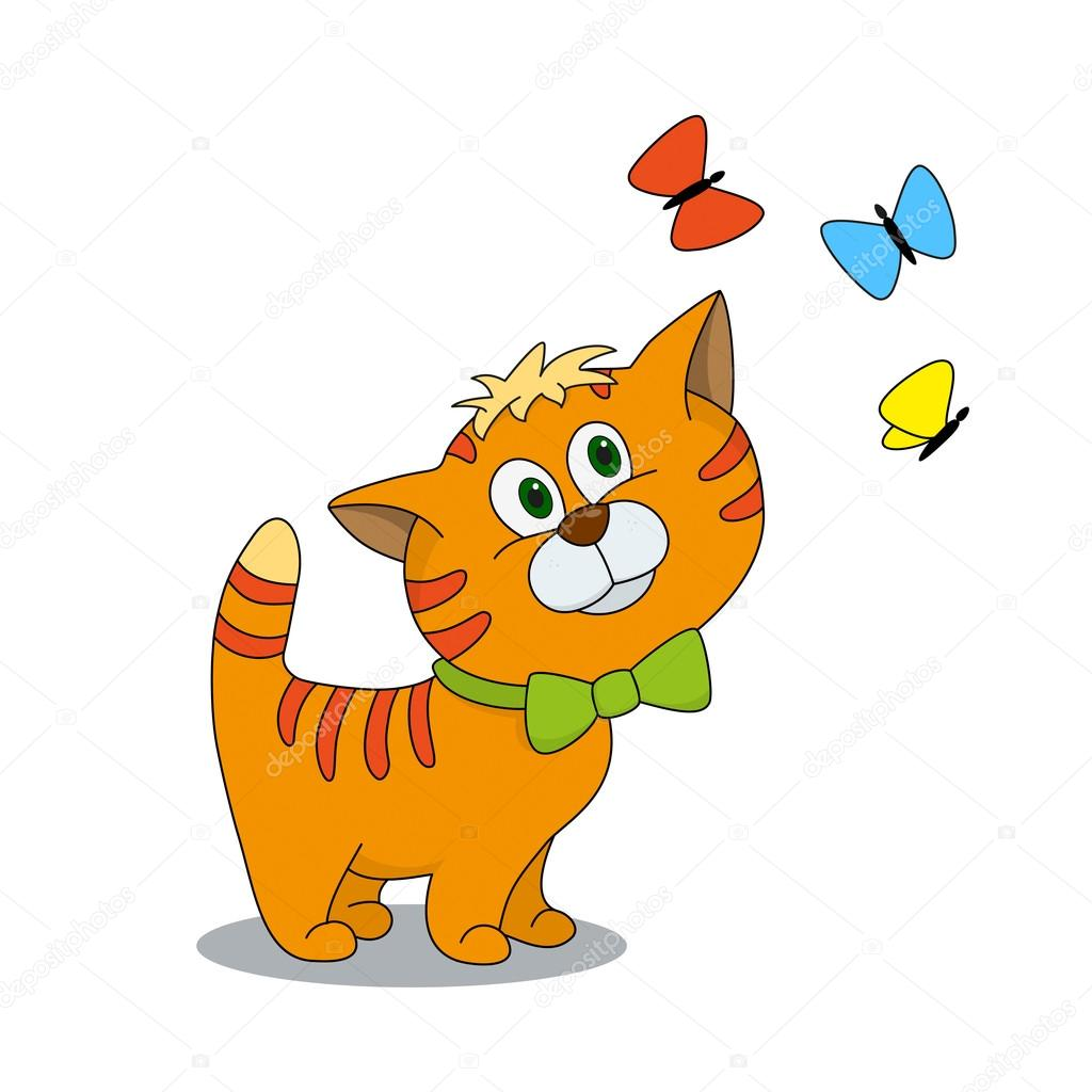 Image of: Illustration Cute Cartoon Karakter Kitten Met Vlinders Stockillustratie Depositphotos Cute Cartoon Karakter Kitten Met Vlinders Stockvector