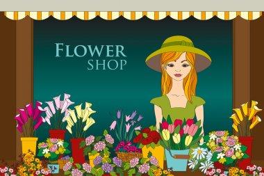 Vector illustration of florist girl