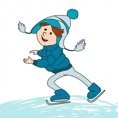 Boy skating on ice.