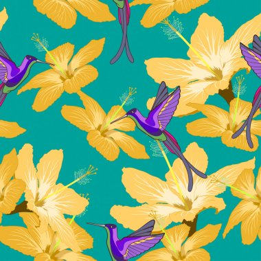 Seamless pattern with hibiscus flowers and hummingbird on green