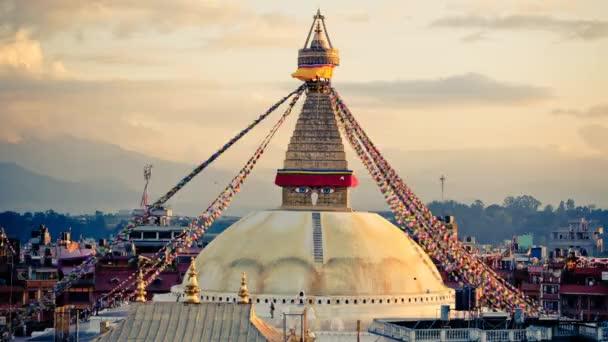 Time lapse Buddhist Buddha stupa with prayer flags in Kathmandu