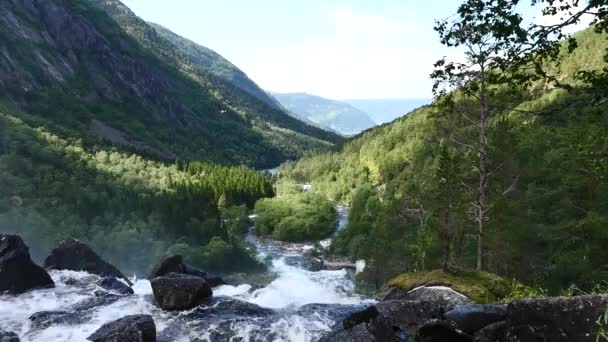 Waterfall at mountain river in summer  in Norway