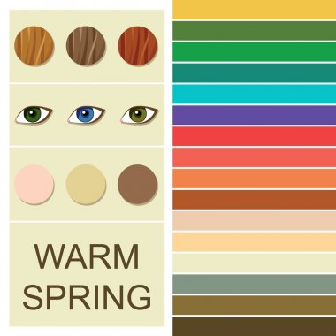 Stock vector seasonal color analysis palette for warm spring type