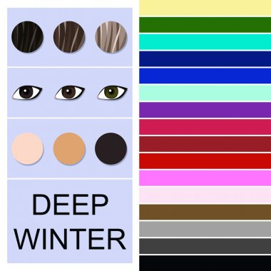 Stock vector seasonal color analysis palette for deep winter type