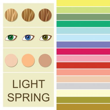 Stock vector seasonal color analysis palette for light spring type