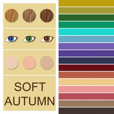 Stock vector seasonal color analysis palette for soft autumn type