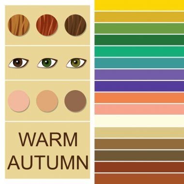 Stock vector seasonal color analysis palette for warm autumn type