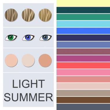 Stock vector seasonal color analysis palette for light summer type