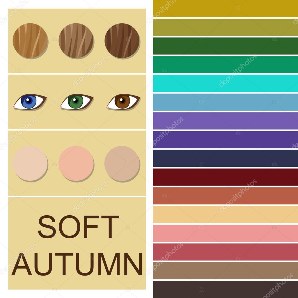 Vektor Analyse Saisonale Farbpalette Fur Weiche Herbsttyp