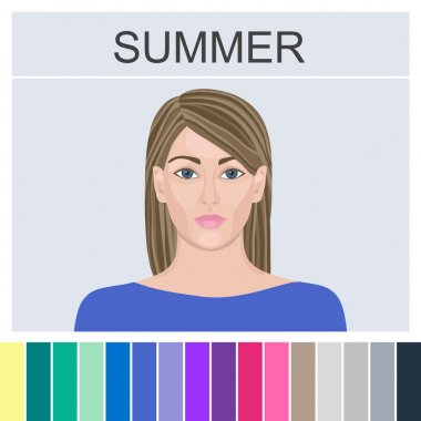 Stock vector summer type of female appearance