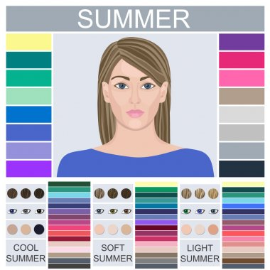 Stock vector set of three summer types of female appearance