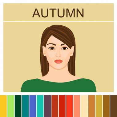 Stock vector autumn type of female appearance