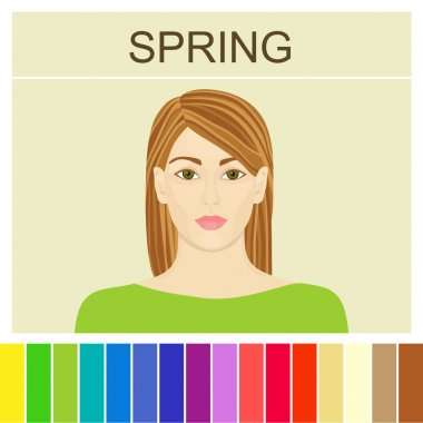 Stock vector spring type of female appearance. Face of young woman