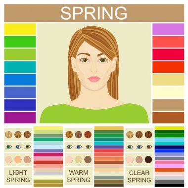 Stock vector set of three spring types of female appearance