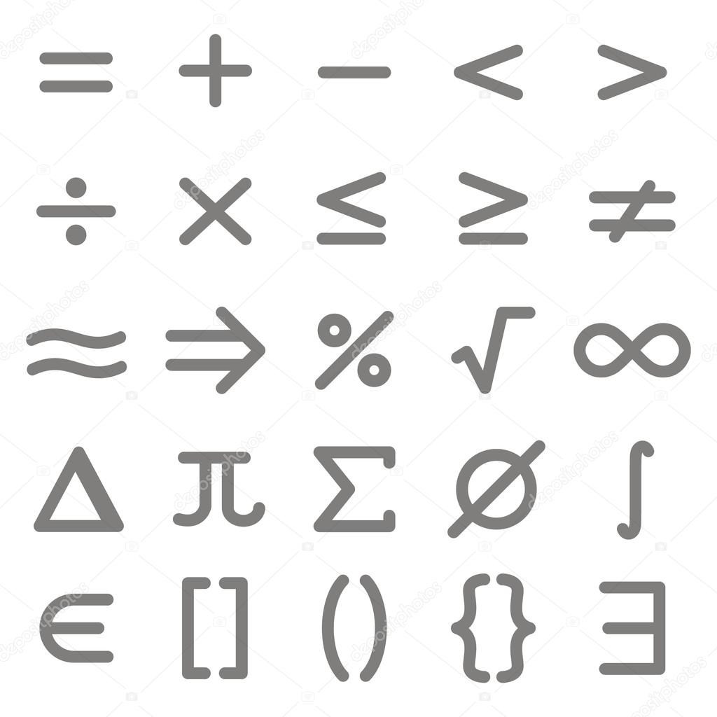 Set of monochrome icons with mathematical symbols stock vector set of monochrome icons with mathematical symbols stock vector buycottarizona Image collections