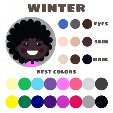Stock vector color guide. Eyes, skin, hair color. Seasonal color analysis palette with best colors for winter type of children appearance. Face of little girl