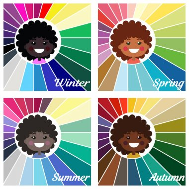 Stock vector seasonal color analysis palettes for different types of girls appearance. Best colors for Autumn, Summer, Winter, Spring