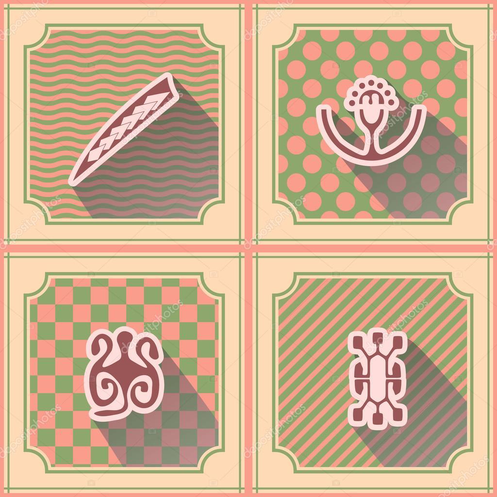 Seamless Background With Polynesian Tattoo Symbols Stock Vector
