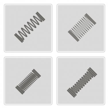 Set of monochrome icons with Springs