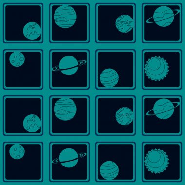 Seamless background with planets of the solar system