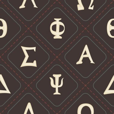 Seamless background with letters of the Greek alphabet