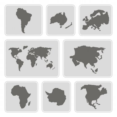 Set of monochrome icons with continents for your design
