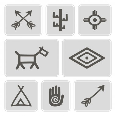 Set of monochrome icons with native american symbols for your design