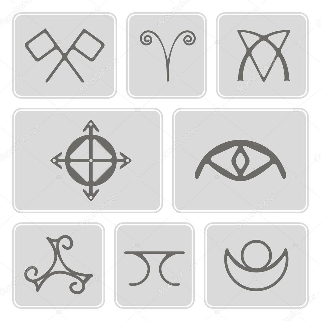 Set of monochrome icons with magical symbols of the elves of fyn for set of monochrome icons with magical symbols of the elves of fyn for your design conflict veldor truth protection sight healing home wish vector biocorpaavc Images