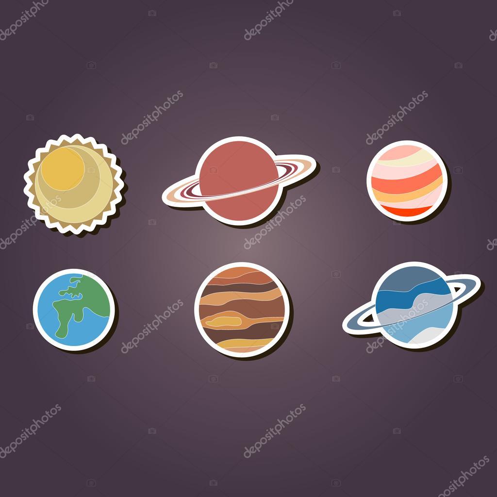 Amado conjunto de ícones de cor com planetas do sistema solar — Vetor de  MW25