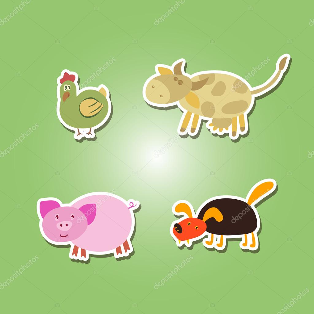 set of color icons with domestic animal kids drawing — Stock Vector ...