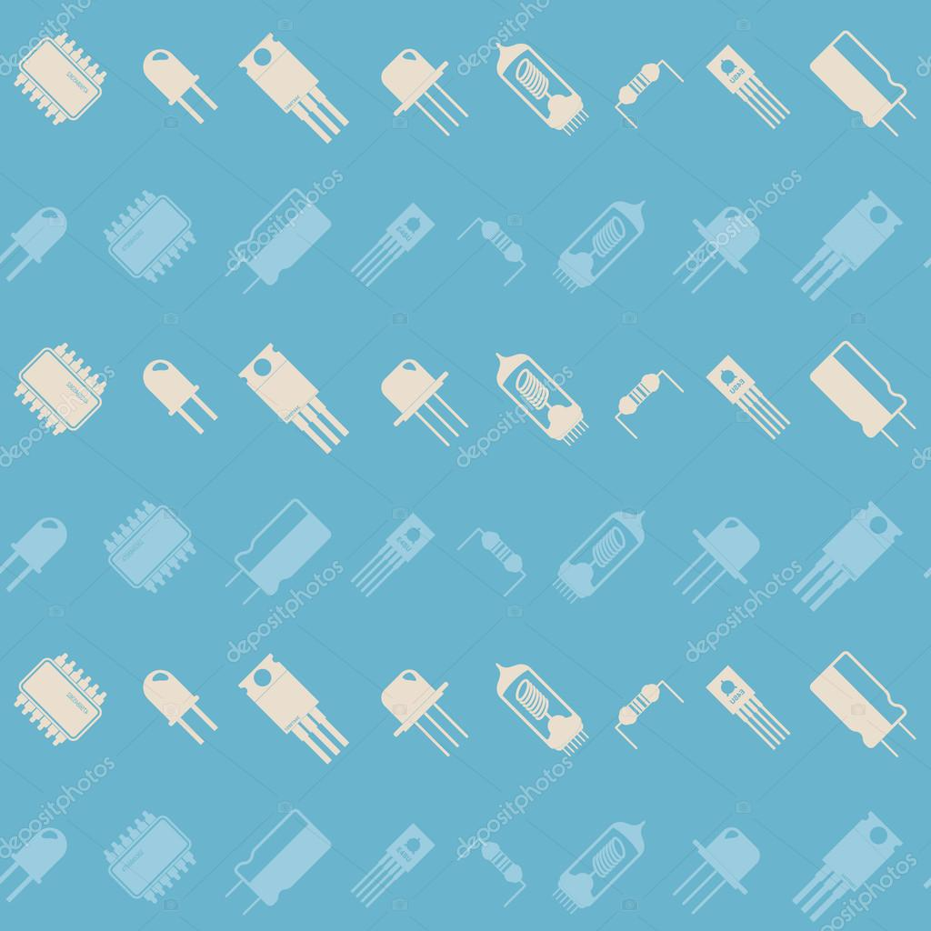 Seamless Background With Electronic Components Icons Stock Vector Wallpaper 84091646