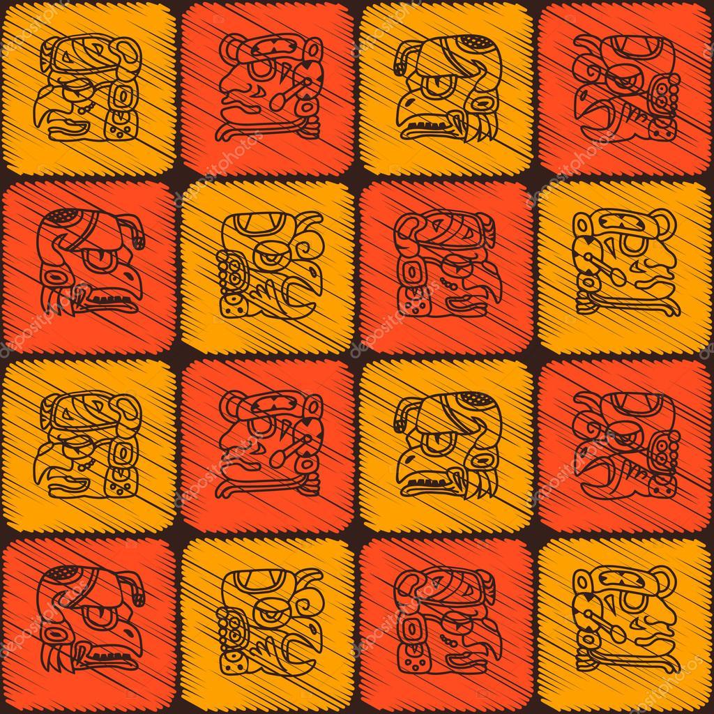 Calendario Dei Maya.Modello Senza Cuciture Con Glifi Dei Nomi Calendario Maya