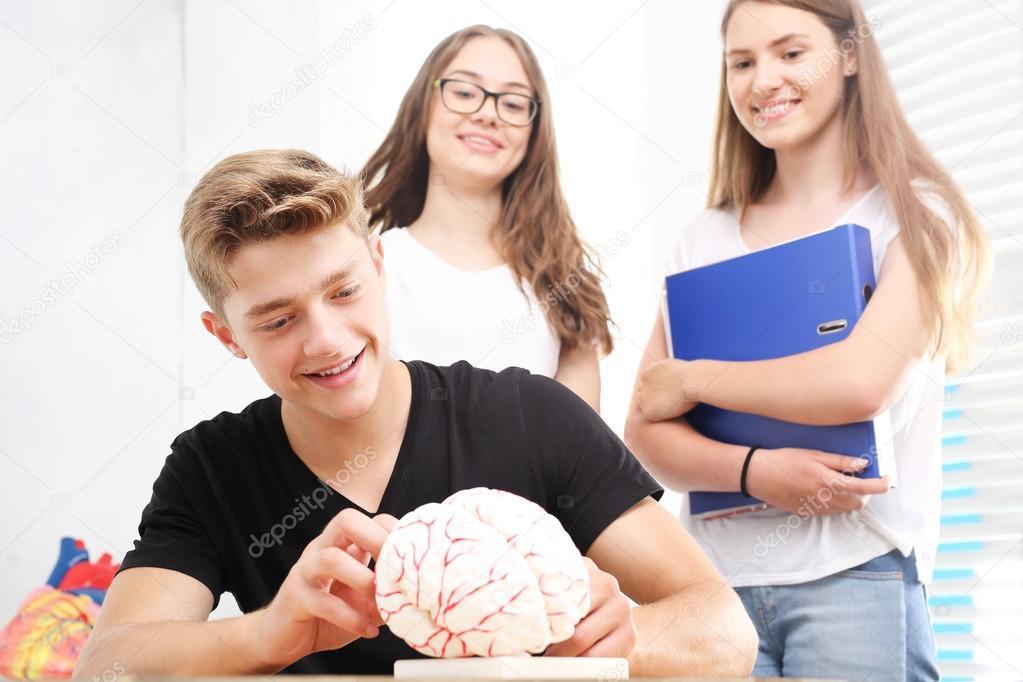 Jugend in der Schule. Anatomie-Lektion — Stockfoto © robertprzybysz ...