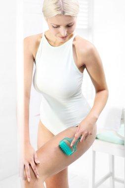 Massage thigh. Home care treatment, massage