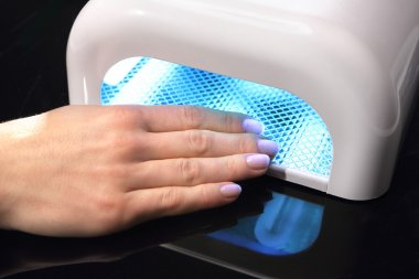 Hybrid manicure, uv lamp, nail plate curing