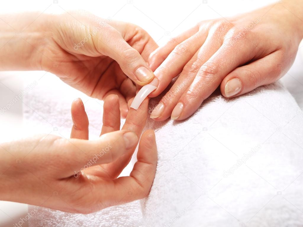 Gel manicure, nails beautician extended — Stock Photo ...