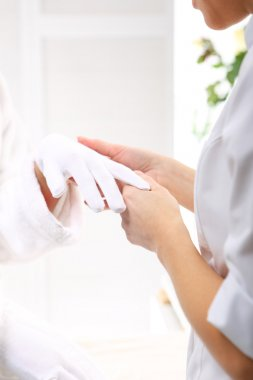 Paraffin hand treatment, beauty institute